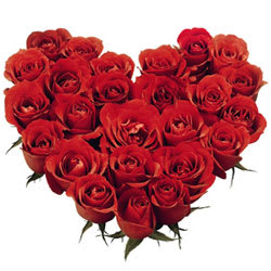 Deliver Online Red Roses in Heart Shaped