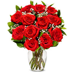Shop Online Bunch of Red Roses in a Glass Vase