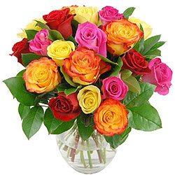 Send Online Mixed Roses in a Vase