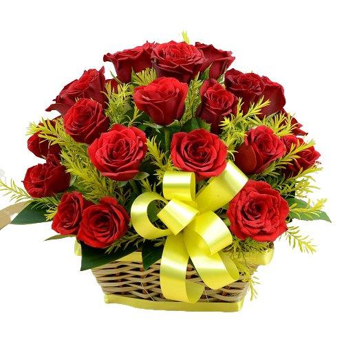 Send Basket of Red Roses Online