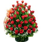Precious Assemble of Premium Red Coloured Roses in a Basket