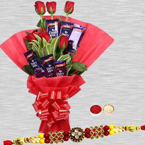 Sublime Love Treat Conclave of Red Rose and Cadbury Chocolates With Rakhi