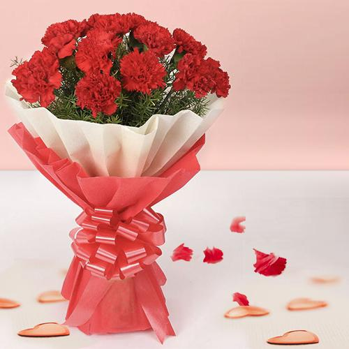 Send Online Red Carnations Bouquet
