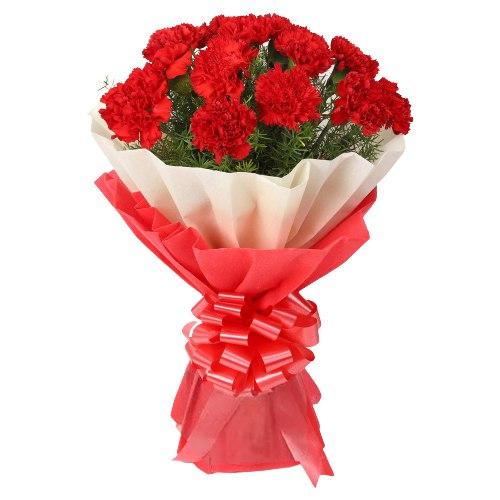 Send Online Red Carnations Bouquet
