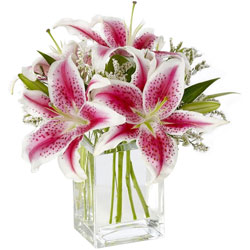 Deliver Pink Lilies in Glass Vase Online