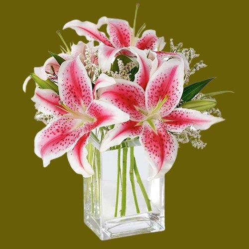Deliver Pink Lilies in Glass Vase Online