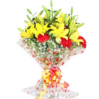 Blooming Red Carnations N Yellow Lilies Bouquet