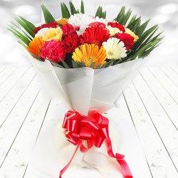 Captivating Gerberas, Roses N Carnations Bouquet