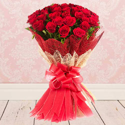 Vibrant Blooms Bouquet of Red Roses artfully wrapped