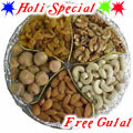 Nice Wrapped Gift Box containing  Mixed Dry Fruits i.e. Raisin, Pistas, Cashews, Almonds, Wallnuts with free Gulal/Abir Pouch.