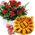 12 Red Roses with Anand Bhawan Mysore Pak