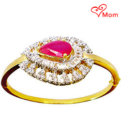 Beautiful Designer Red Stone and Rhinestone Studded Fancy bangle.