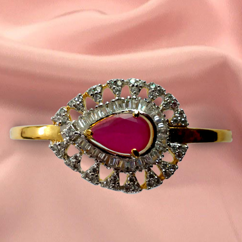 Beautiful Designer Red Stone and Rhinestone Studded Fancy bangle from Anjali