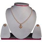 Gorgeous Looking Fresh Water Pearl Necklace with Gold Plated Heart Shaped Pendant & Earrings Set