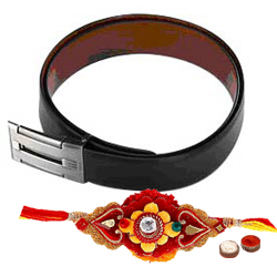 Stylish Reversible  Leather Belt for gents with Rakhi and Roli Tilak Chawal
