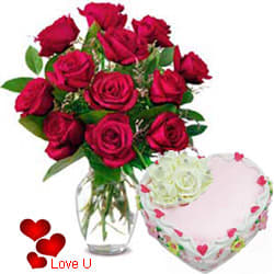 <u><font color=#008000> MidNight Delivery : </FONT></u>:12 Exclusive <font color =#FF0000> Dutch Red </font>   Roses  in vase and  A Fresh Baked Heart Shaped Cake 1 Lb and  a Cadburys Chocolate.