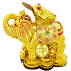Feng shui Golden Elephant with frog on his head