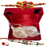 Silver plated dry fruit holder with Rakhi and Roli Tilak Chawal