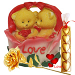 Adorable Twin Teddy with Roses in a Love Basket with 1 Golden Rose and 5 pcs Heart Homemade Chocolate