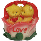 Angelic Twin Teddy with Roses in a Love Basket