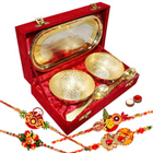 Outstanding Two Tone Tray Bowl Gift Set with 4 Designer Rakhi and Roli Tilak Chawal