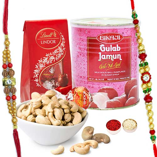 Fetching Rakhi Combo With Lindor Chocolate, Cashew N Bikaji Gulab Jamun