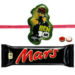 Adorable Ben10 Kid Rakhi And Mars Chocolate