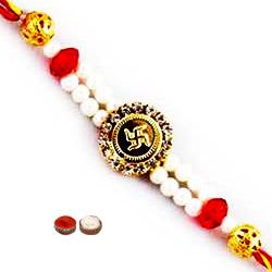 Charming One Swastic N Pearl Design Rakhi