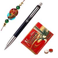 <b>Parker Vector Standard Ball Pen</b> with Rakhi and Roli Tilak Chawal