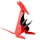 Kangaroo Shaped Faux Leather Desktop Pen Set Holder in Red from Vaunt