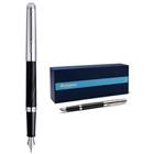 Flattering Waterman Hemisphere Deluxe Silky Black Fountain Pen with Chrome Trim Medium Nib