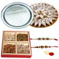 Smart-Looking Rakhi, Dry Fruits, Silver plated Thali and Kaju Katli for Sweet Memories