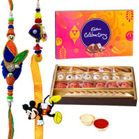 Lovely Gift of Well Prepared <font color=#FF0000>Haldiram</font>s Sweets and a Pack of Divine Cadbury Celebration