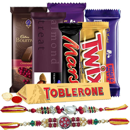 Yummy Chocolate Gift Hamper with Cute Floral Rakhi