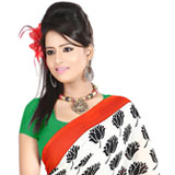 Classy White in Colour Dani Georgette Printed Saree with Floral Design