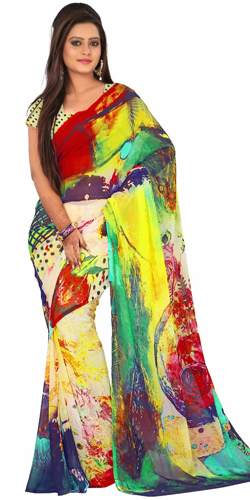 Enticing Digital Printed Georgette Saree in Multicolour