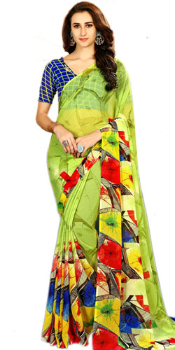 Pretty Ladies Fancy Marble Chiffon Party-wear Saree in Green Color