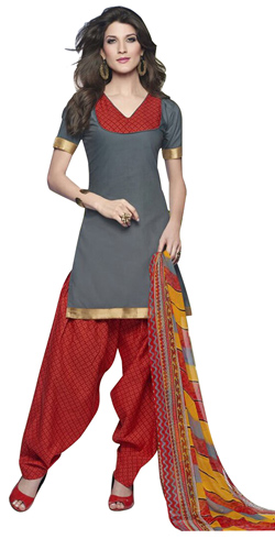 Fashionably Shaded in Grey and Red Cotton Printed Patiala Suit