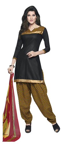 Exotic Shaded in Black and Yellow Cotton Printed Patiala Suit