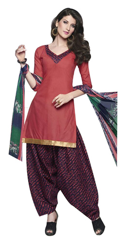 Fashionable Pink and Blue Shaded Cotton Printed Patiala Suit