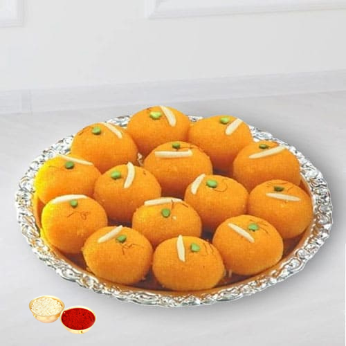 Haldiram tasty Pure Ghee Laddu  with free Roli Tilak and Chawal.