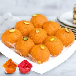 Irresistible Motichur Ladoo from Haldiram with free Gulal/Abir Pouch
