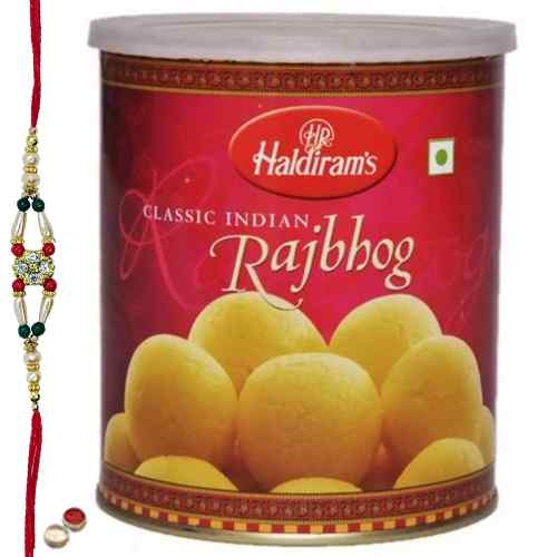 Special Rakhi Treat From <font color=#FF0000>Haldiram</font> 1 Kg. Raj Bhog with Free wonderful Rakhi, Roli ,Tilak and Chawal