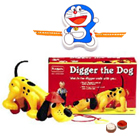 Free Rakhi, Roli Tilak and Chawal for Kids with  Funskool Diggler Dog Toy Set