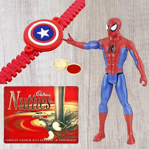 Wonderful Selection of Marvel Avengers Captain America Action Figurine for Little Ones and Kids Rakhi, Cadbury Nutties with Free Roli Tilak and Chawal
