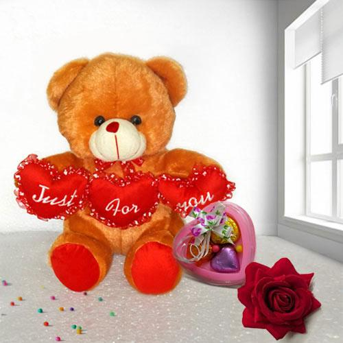 Romantic Gift of Teddy with Velvet Rose and Heart Chocolates