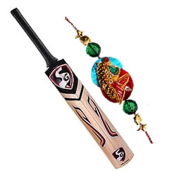 A bat for cricket admiring brothers with free Rakhi