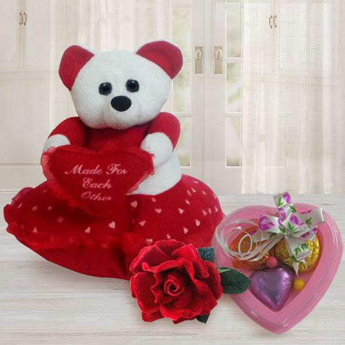 Delightful Teddy Bear with Heart with 3 pcs Heart Homemade Chocolate