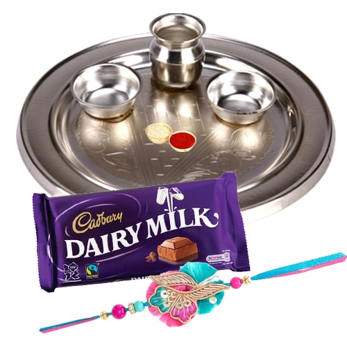 Silver Plated Rakhi Thali, One or More Rakhi Options with 1 Dairy Milk 95 gr.