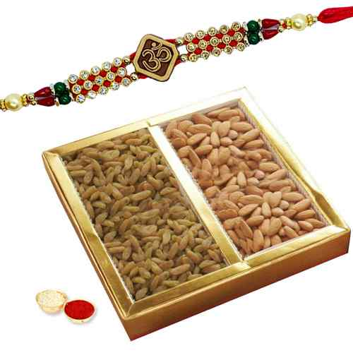 One or More Om Rakhi with Dry fruits